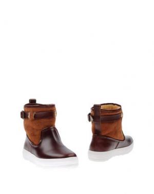 Полусапоги и высокие ботинки F-TROUPE. Цвет: красно-коричневый