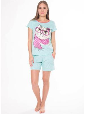 Пижама Flip. Цвет: светло-голубой, оранжевый, светло-зеленый