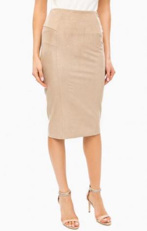 Бежевая юбка карандаш с застежкой на молнию MARCIANO Guess. Цвет: бежевый