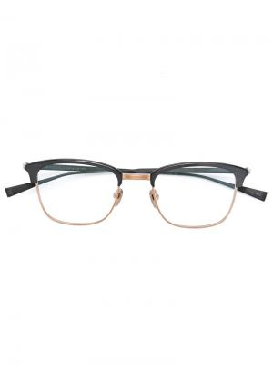 Очки в квадратной оправе Masunaga. Цвет: металлический