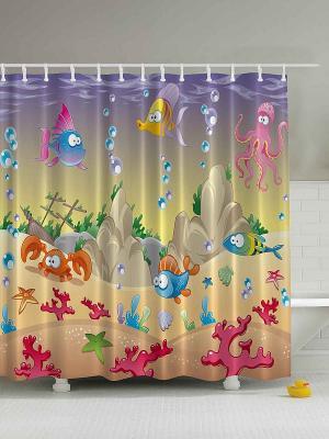 Фотоштора для ванной Весёлые рыбки, 180*200 см Magic Lady. Цвет: фиолетовый, горчичный, сиреневый, бежевый, фуксия, розовый