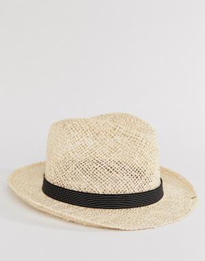 Catarzi Соломенная шляпа с черной тесьмой в полоску. Цвет: бежевый