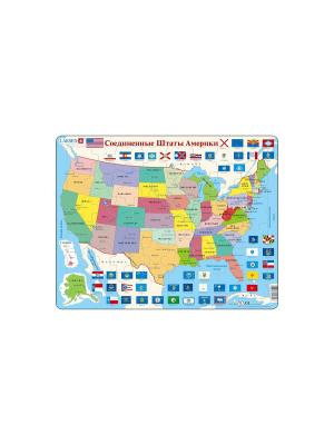 Пазл США (Русский) LARSEN AS. Цвет: голубой, оранжевый, желтый, белый, синий, зеленый