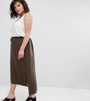 Elvi Коричневая твидовая юбка. Цвет: коричневый