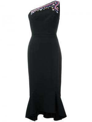 Платье на одно плечо с вышивкой Peter Pilotto. Цвет: чёрный