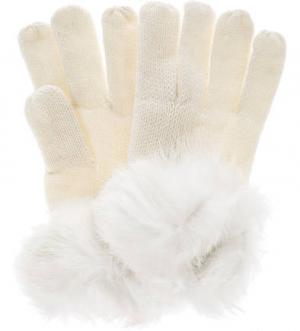 Вязаные перчатки с меховой отделкой HERMAN. Цвет: молочный
