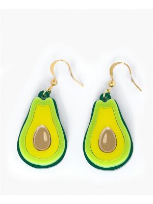 Серьги Авокадо НечегоНадеть. Цвет: салатовый, желтый, золотистый