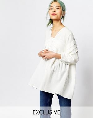 Zacro Oversize-блузка со складками спереди и рукавами с напуском. Цвет: слоновая кость