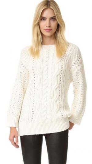 Пуловер с округлым вырезом и перекрученной отделкой, заплетенной колосом The Kooples. Цвет: белый