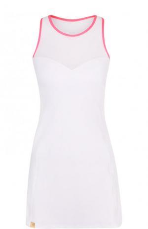 Приталенное спортивное мини-платье Monreal London. Цвет: белый