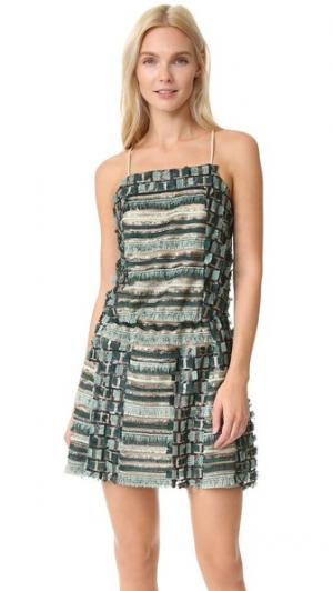 Платье с блестками, бахромой и перекрещивающимся бретельками на спине Anna Sui. Цвет: лагуна мульти