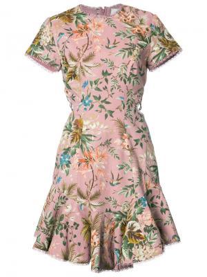 Платье с цветочным принтом Zimmermann. Цвет: розовый и фиолетовый