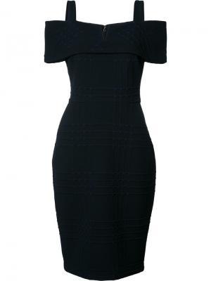 Платье с открытыми плечами Badgley Mischka. Цвет: чёрный