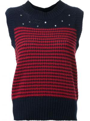 Трикотажный жилет с вышивкой Muveil. Цвет: красный