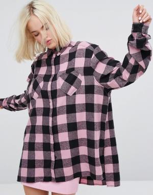 Lazy Oaf Фланелевая клетчатая оверсайз-рубашка с карманами в форме сердца. Цвет: мульти