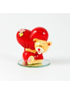 Фигурка декоративная Мишка-валентинка Русские подарки. Цвет: светло-оранжевый, красный