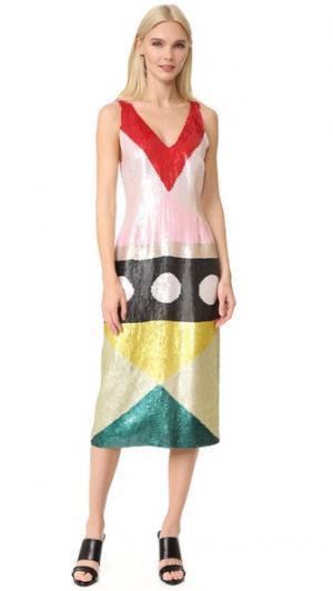 Коктейльное платье с блестками Novis. Цвет: мульти