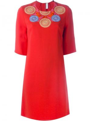 Платье с вышивкой Peter Pilotto. Цвет: красный
