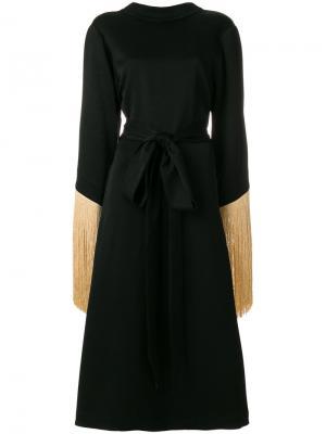 Платье с широкими рукавами и бахромой Ellery. Цвет: чёрный