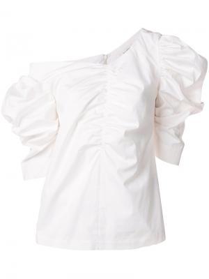 Блузка с оборкой Isa Arfen. Цвет: белый