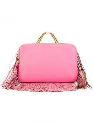 Fringed zip clutch The Volon. Цвет: розовый и фиолетовый