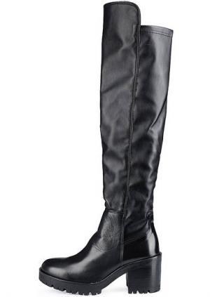 Кожаные сапоги на каблуке Felmini. Цвет: черный