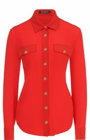 Шелковая приталенная блуза Balmain. Цвет: красный