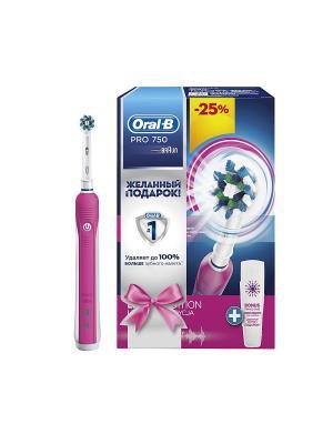 Электрическая зубная щётка ORAL-B 750 Cross Action Pink в подарочной упаковке с бантиком, розовая ORAL_B. Цвет: розовый