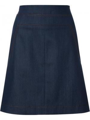 Джинсовая юбка Akris Punto. Цвет: синий