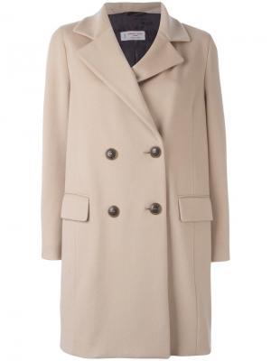 Двубортное пальто Alberto Biani. Цвет: телесный