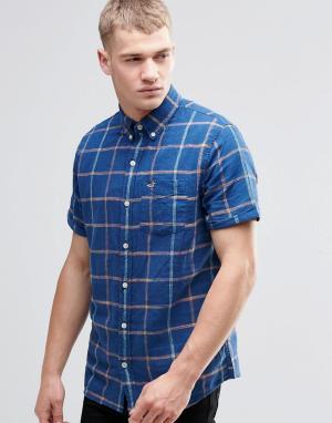 Hollister Темно-синяя льняная рубашка в клетку с короткими рукавами. Цвет: темно-синий