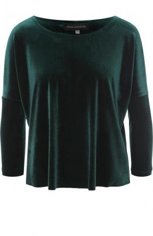 Бархатный топ с укороченным рукавом и круглым вырезом Inna Honour. Цвет: темно-зеленый