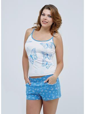 Комплект майка и шорты MARIPOSA. Цвет: голубой