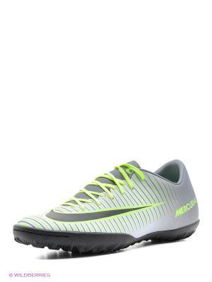 Бутсы MERCURIALX VICTORY VI TF Nike. Цвет: зеленый, темно-серый, светло-серый, черный