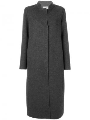 Длинное пальто с контрастными лацканами Manzoni 24. Цвет: серый