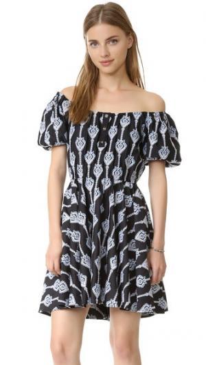 Платье с вышивкой Bardot Caroline Constas. Цвет: голубой