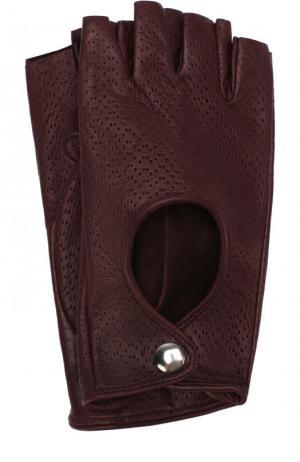 Кожаные митенки с перфорацией Sermoneta Gloves. Цвет: бордовый