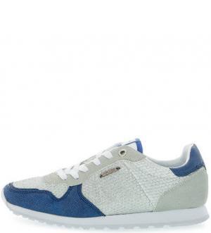 Летние кроссовки с вкладной стелькой Pepe Jeans. Цвет: серебряный