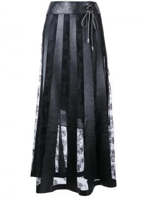 Длинная кружевная юбка Christopher Kane. Цвет: чёрный