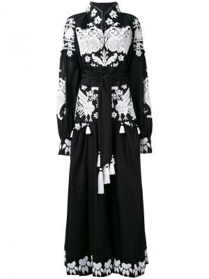 Длинное платье с этнической вышивкой Yuliya Magdych. Цвет: чёрный