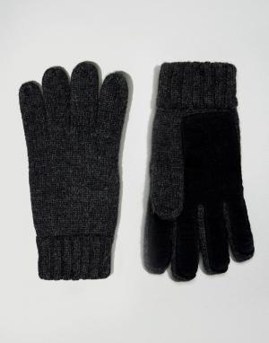 Dents Полушерстяные перчатки с кожаной вставкой на ладонях. Цвет: серый
