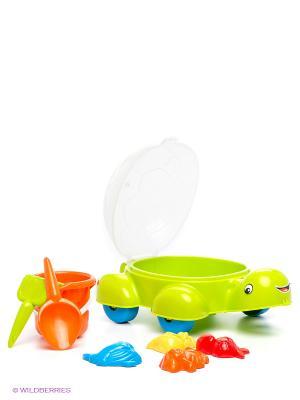 Песочный набор Черепашка DOLU. Цвет: салатовый, голубой, прозрачный, красный, оранжевый, желтый