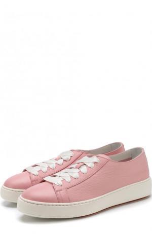 Кожаные кеды на шнуровке Santoni. Цвет: светло-розовый