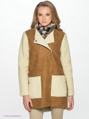 Дубленка Vero moda. Цвет: коричневый, молочный
