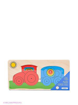 Многослойный пазл «Трактор» Beleduc. Цвет: голубой, красный