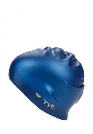 Шапочка для плавания TYR. Цвет: синий