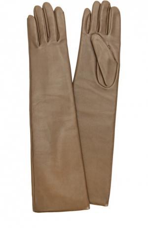 Удлиненные кожаные перчатки с отделкой из шерсти Agnelle. Цвет: темно-бежевый