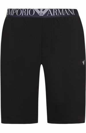 Хлопковые домашние шорты свободного кроя Emporio Armani. Цвет: черный