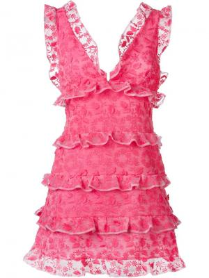 Платье с рюшами Giamba. Цвет: розовый и фиолетовый