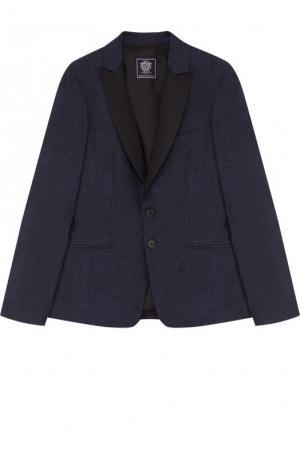 Однобортный пиджак из хлопка и шерсти Dal Lago. Цвет: синий